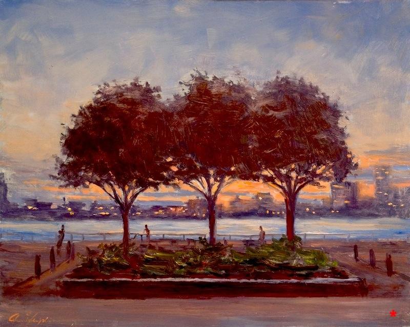 Three Tree Dusk, 16 x 20, oil on canvas .jpg