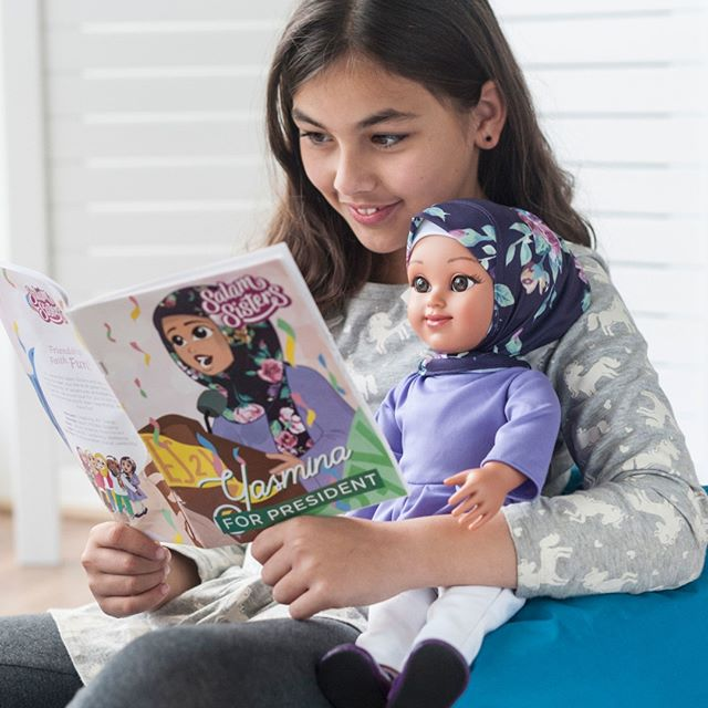 Every #SalamSisters doll comes with her own original story to share a bit about her world, goals, and interests. Click link in bio to order Yasmina today and read her story; it involves a #bakesale, her pet #horse Lily, and a rockin' speech! 🍰🐴🎤
