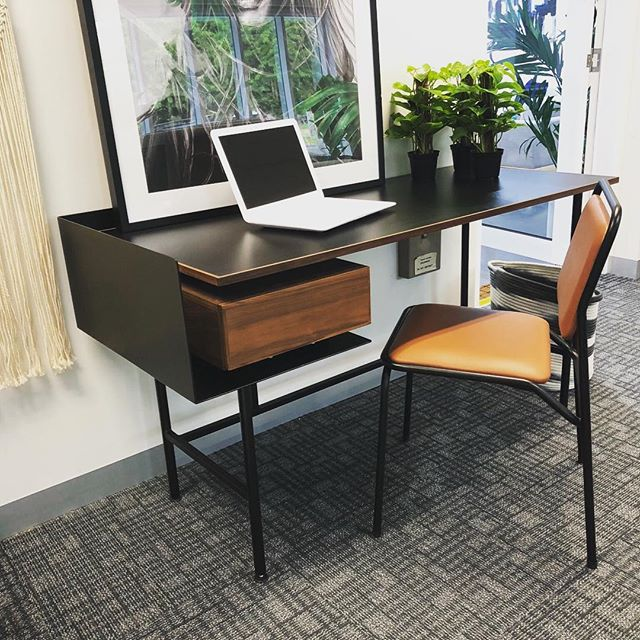 I'm very taken by this little desk. Reminds me of my old school days but much classier. #interiordesign #officefurniture #officefitout