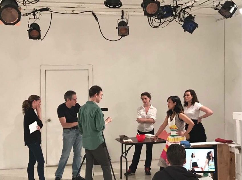 Jon gives actors notes during a scene I directed for the Take Action Workshop. This is a hilarious photo for many reasons, but I was super proud of this scene, from  Waitress.