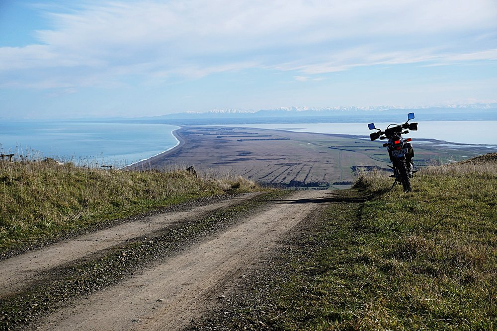 Late winter vista of the Stunning Kaitorete Spit with Lake Ellesmere/Waihora, Canterbury Plains and Southern Alps for a beautiful backdrop.