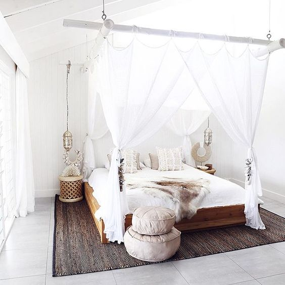 Nothing but net - For those warm nights, we love the practicality of beautiful bed netting for keeping the mosquitoes at bay while you enjoy the fresh air.