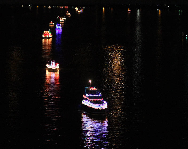 Lighted boat parade in Chattanooga, TN