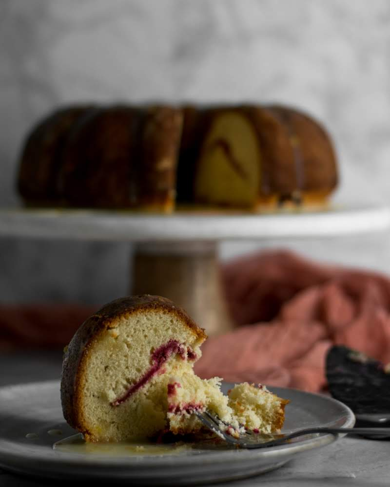 Vanilla Pound Cake with Cranberry Swirl -