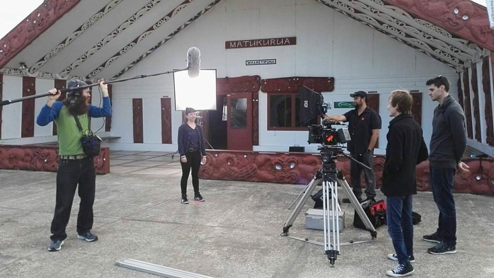 "On site filming ""Te Reo"" for RockEnrol."