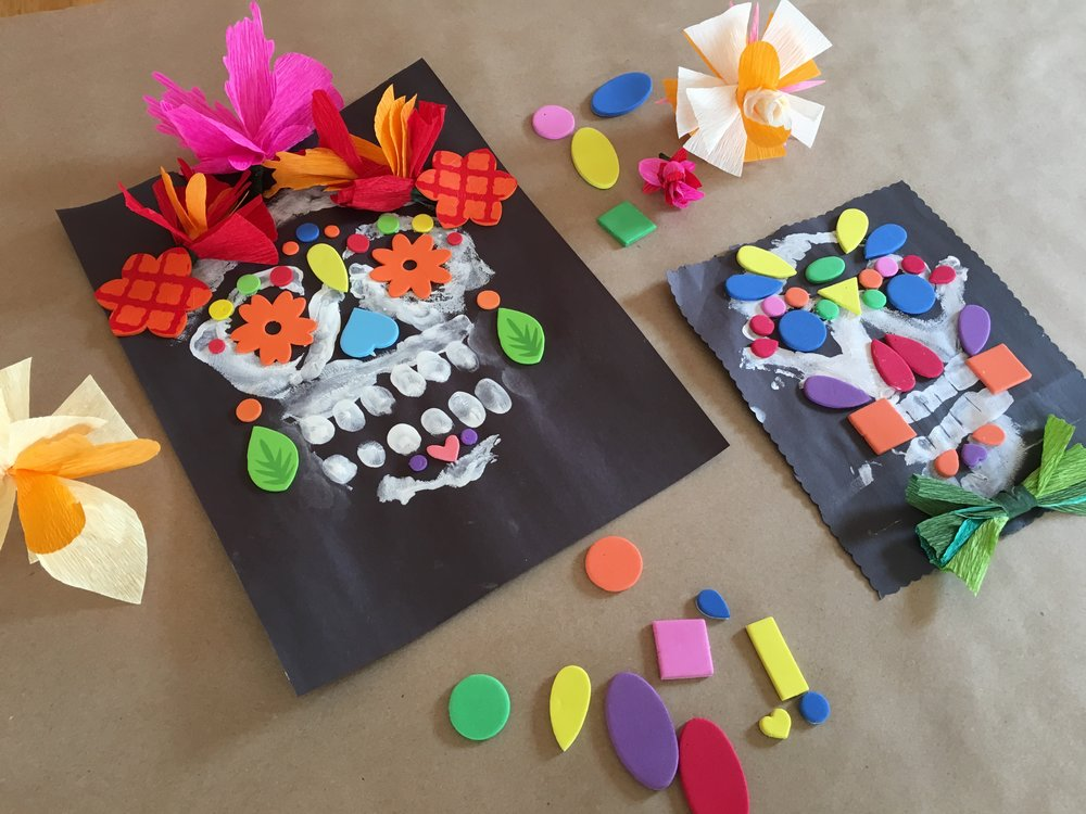 Mixed Media Splendid Sugar Skulls, finger painting, foam shapes, and paper flowers
