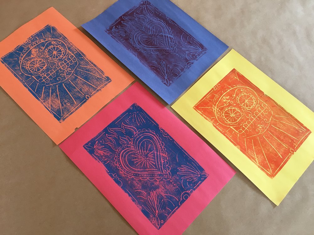 Day of the Dead scratch foam prints