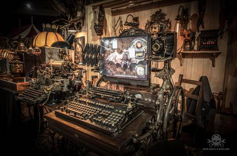 A steampunk computer, doesn't take much imagination to picture a 19th century settler using it.