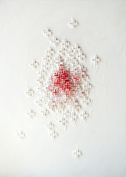 Yod, Crosses, 2009, canvas, acrylic, mixed, 50 x 70 cm