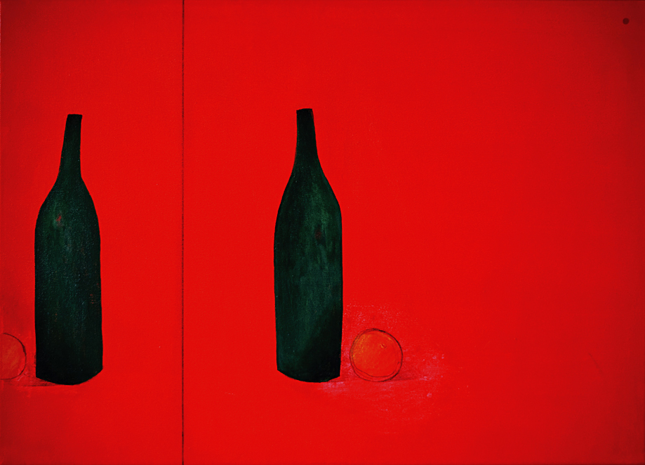 Yod, Still life in red, 2010, canvas, acrylic, 70 x 50 cm