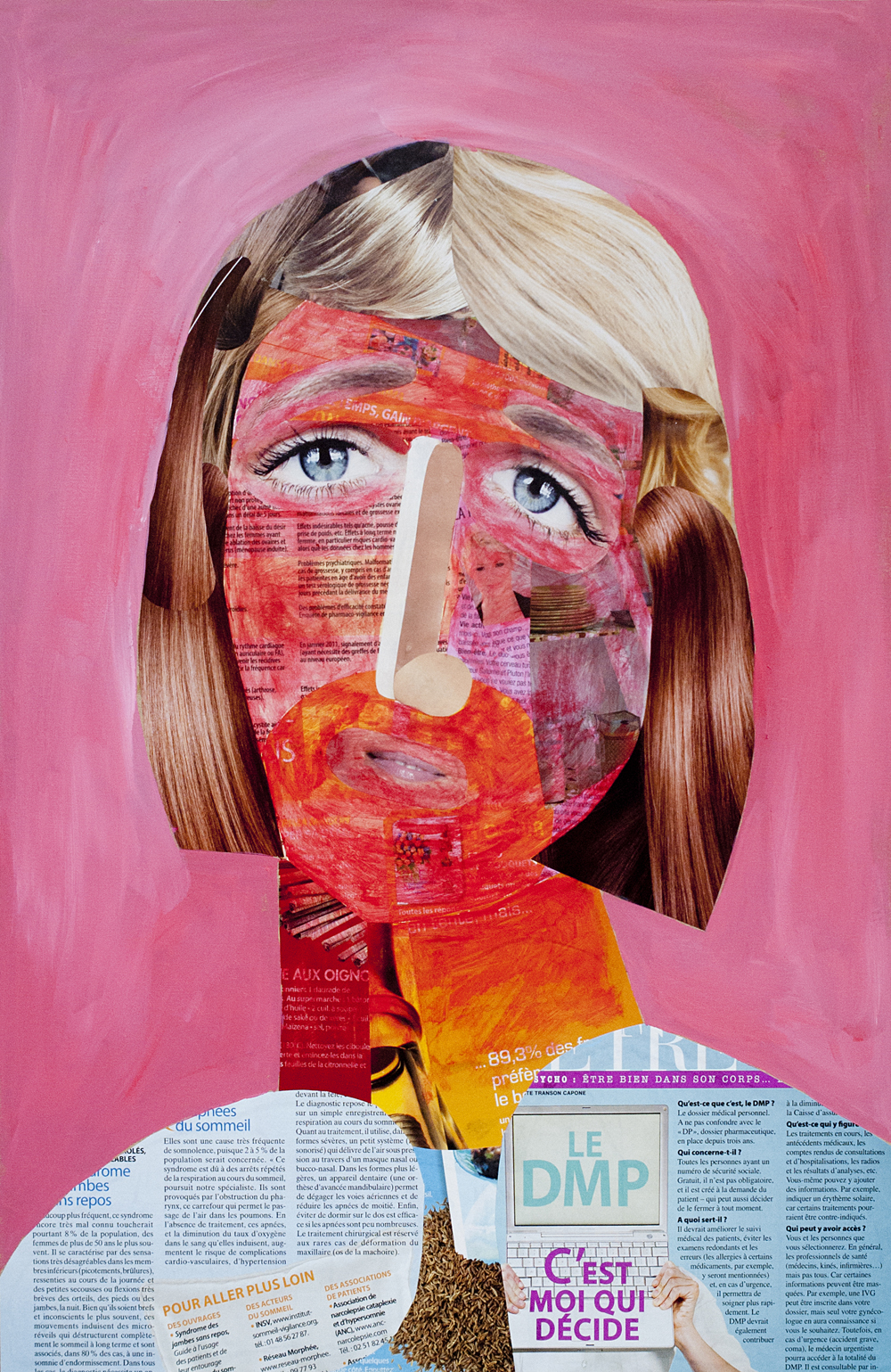 Yod, Woman, 2013, canvas, mixed media, 50 x 70 cm