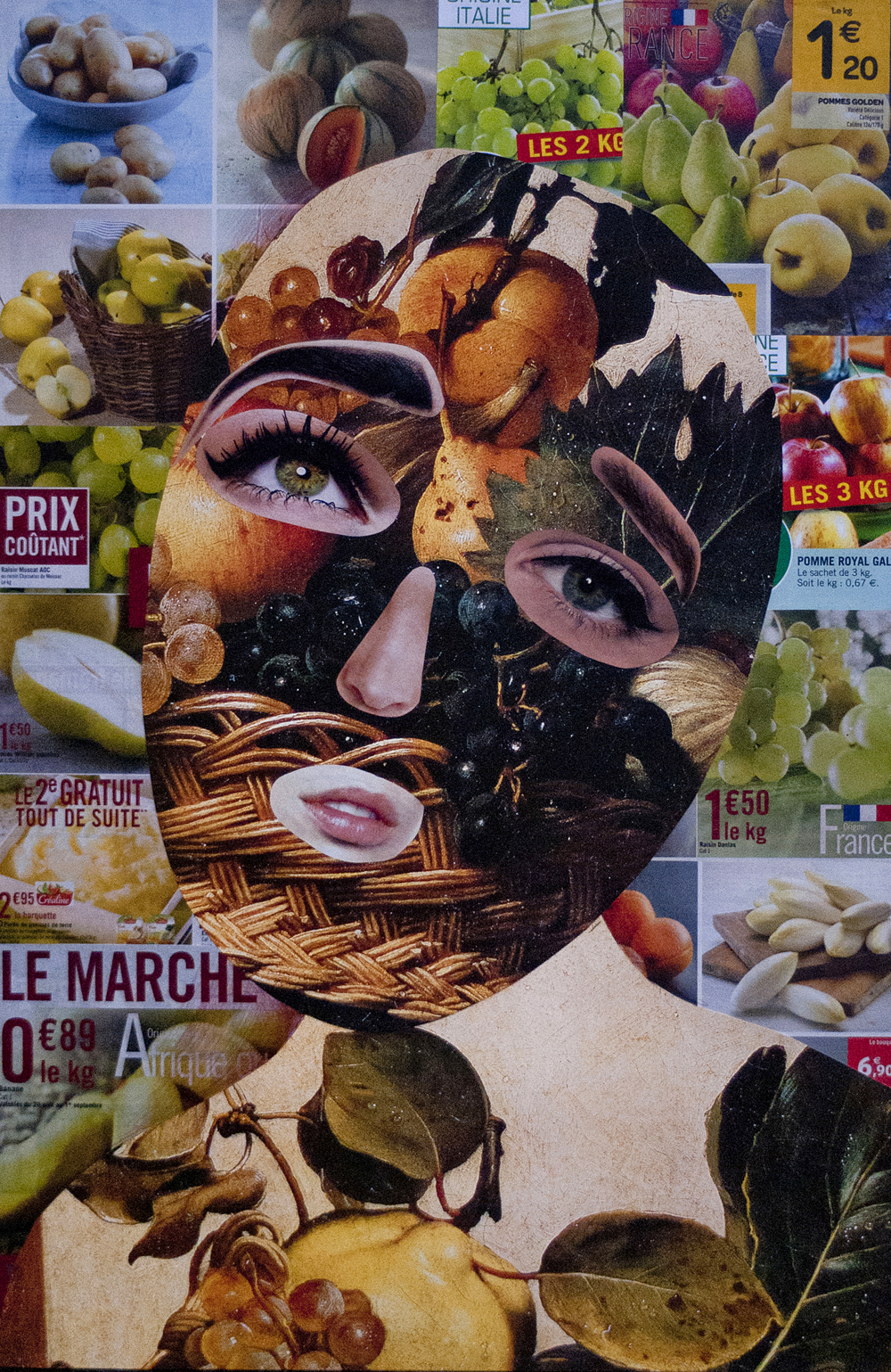 Yod, Woman and fruit, 2013, canvas, mixed media, 50 x 70 cm