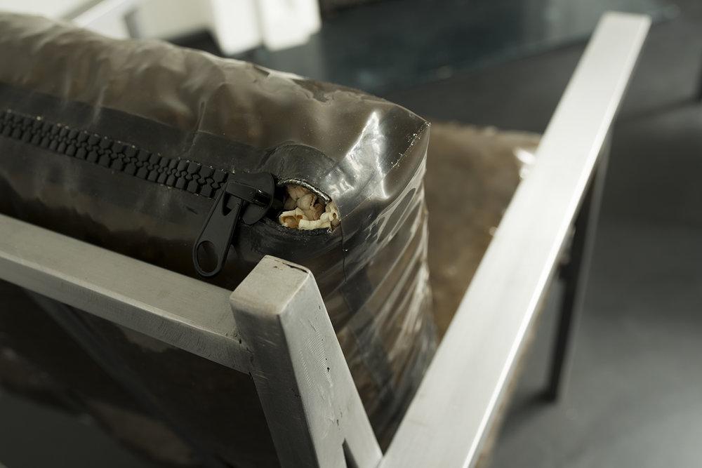 Detail of Brushed Steel, Latex, Meathook, Popcorn, Zip  85 x 77 x 75 cm