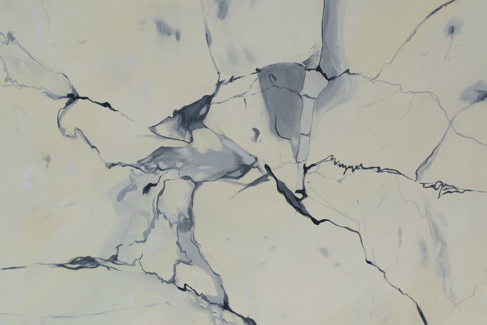 Detail of Zsofia Margit This is marble, 2017 Oil on canvas 181 x 72 x 11 cm