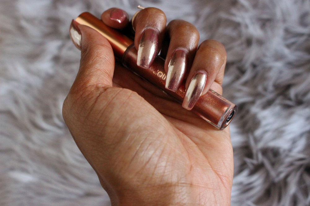 Rose Gold Lipstick Rose Gold Chrome Nails