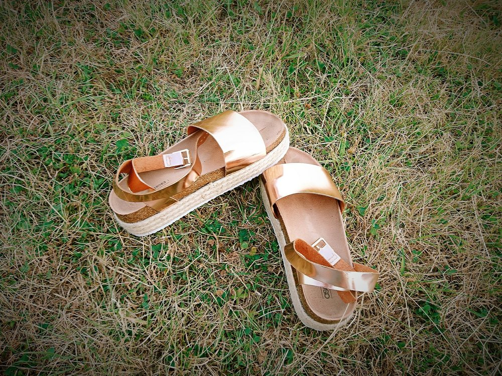 rose gold vegan leather sandals