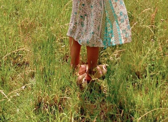 Green maxi dress rose gold vegan leather sandals