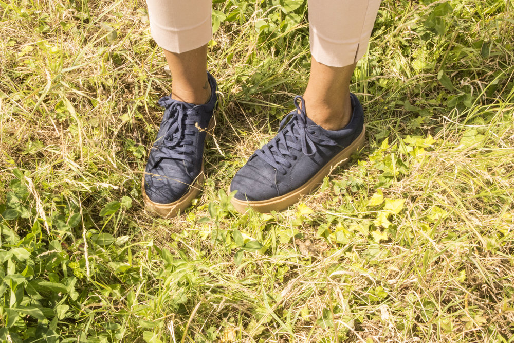 Blush trousers navy shoes