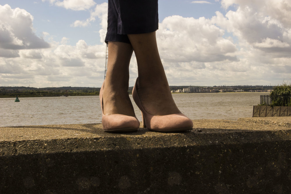 Navy trousers blush shoes