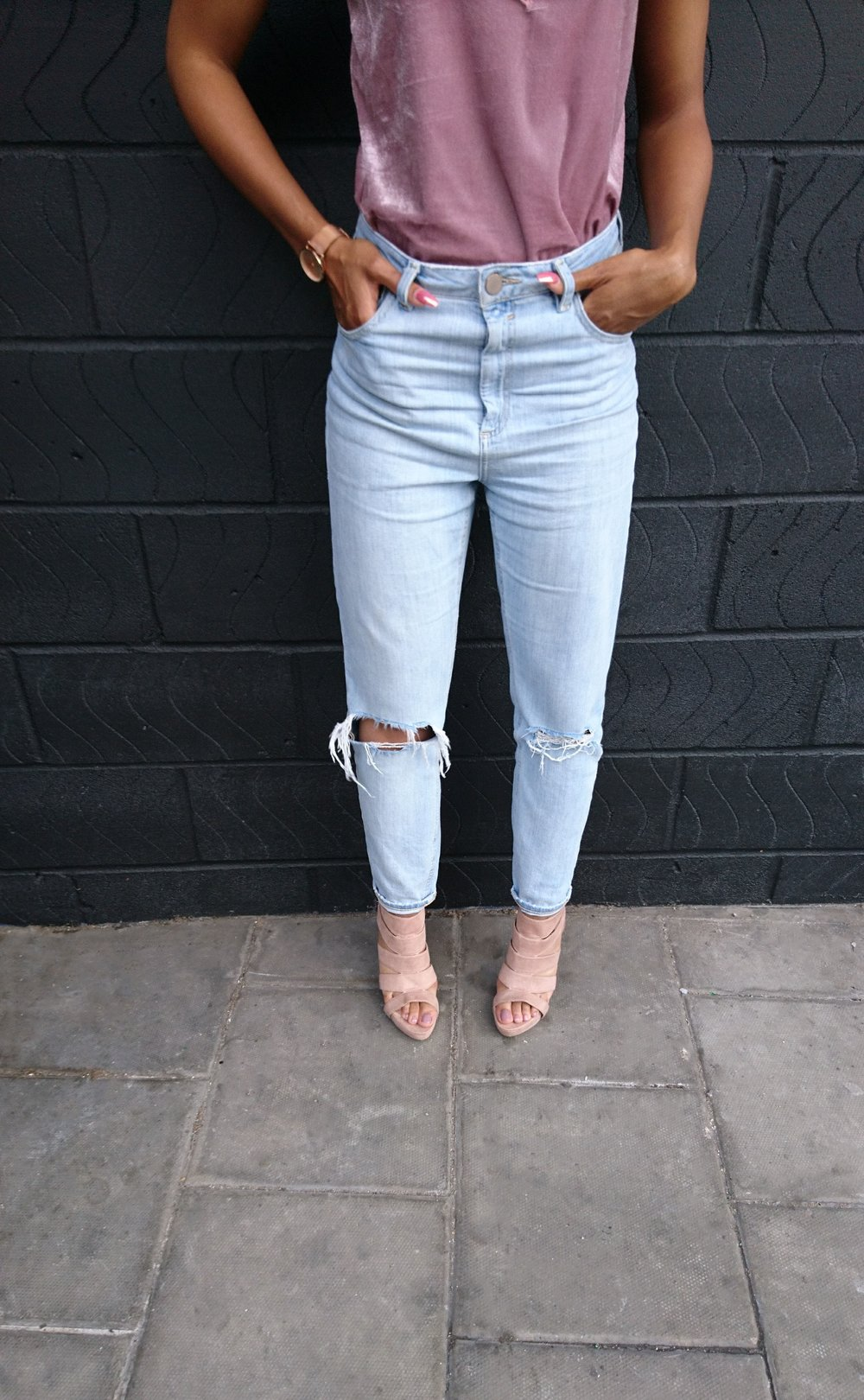 pink camisole stonewash jeans blush shoes