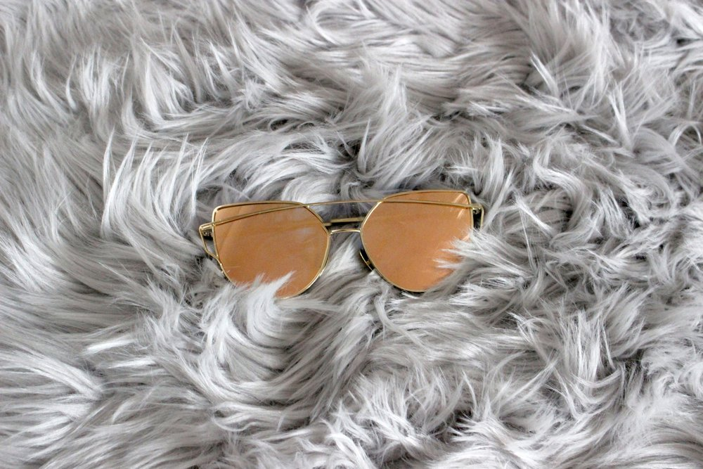 Rose Gold Mirror Shine Sunglasses