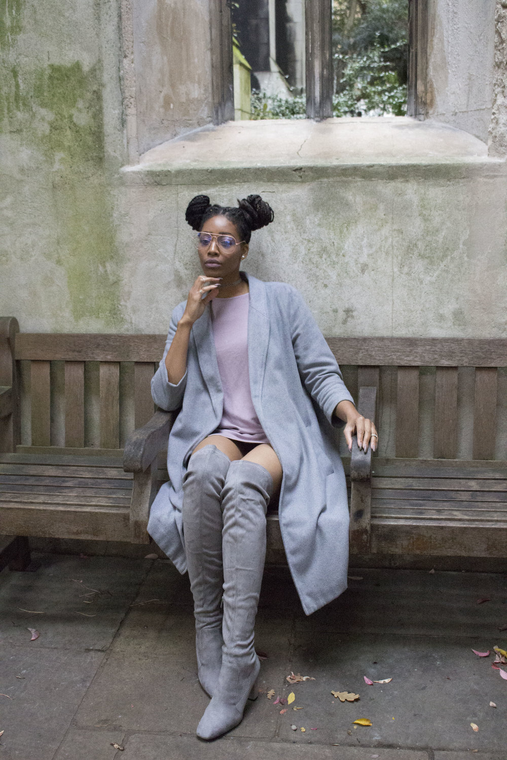 Mauve dress grey coat grey thigh high boots rose gold glasses