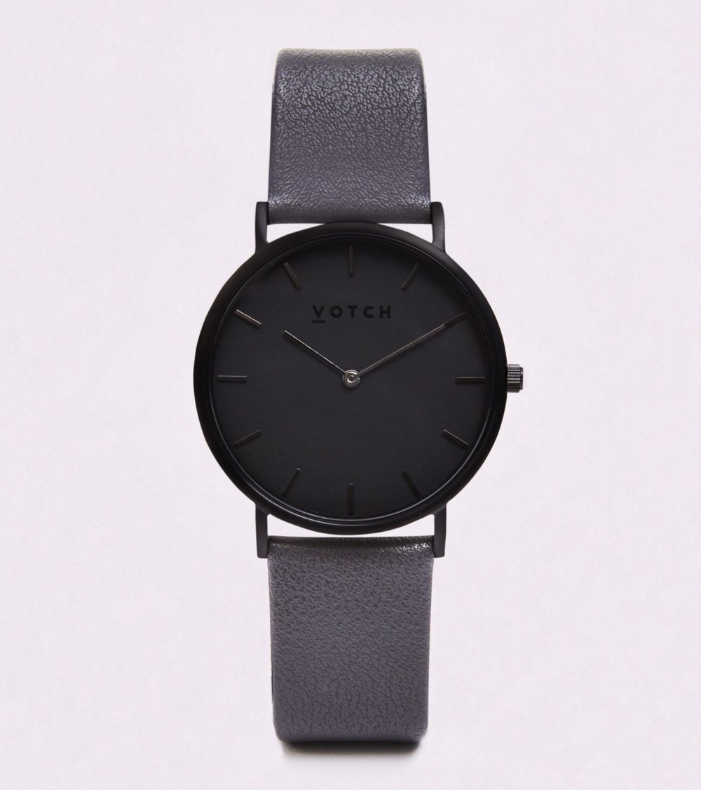 Votch Vegan Leather Watch Classic Dark Grey Black for Him Christmas Gift