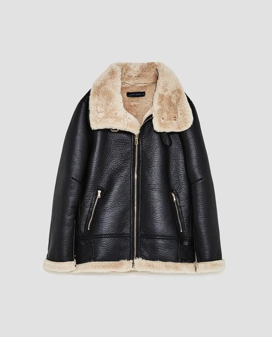 zara vegan leather aviator jacket for her Christmas Gift