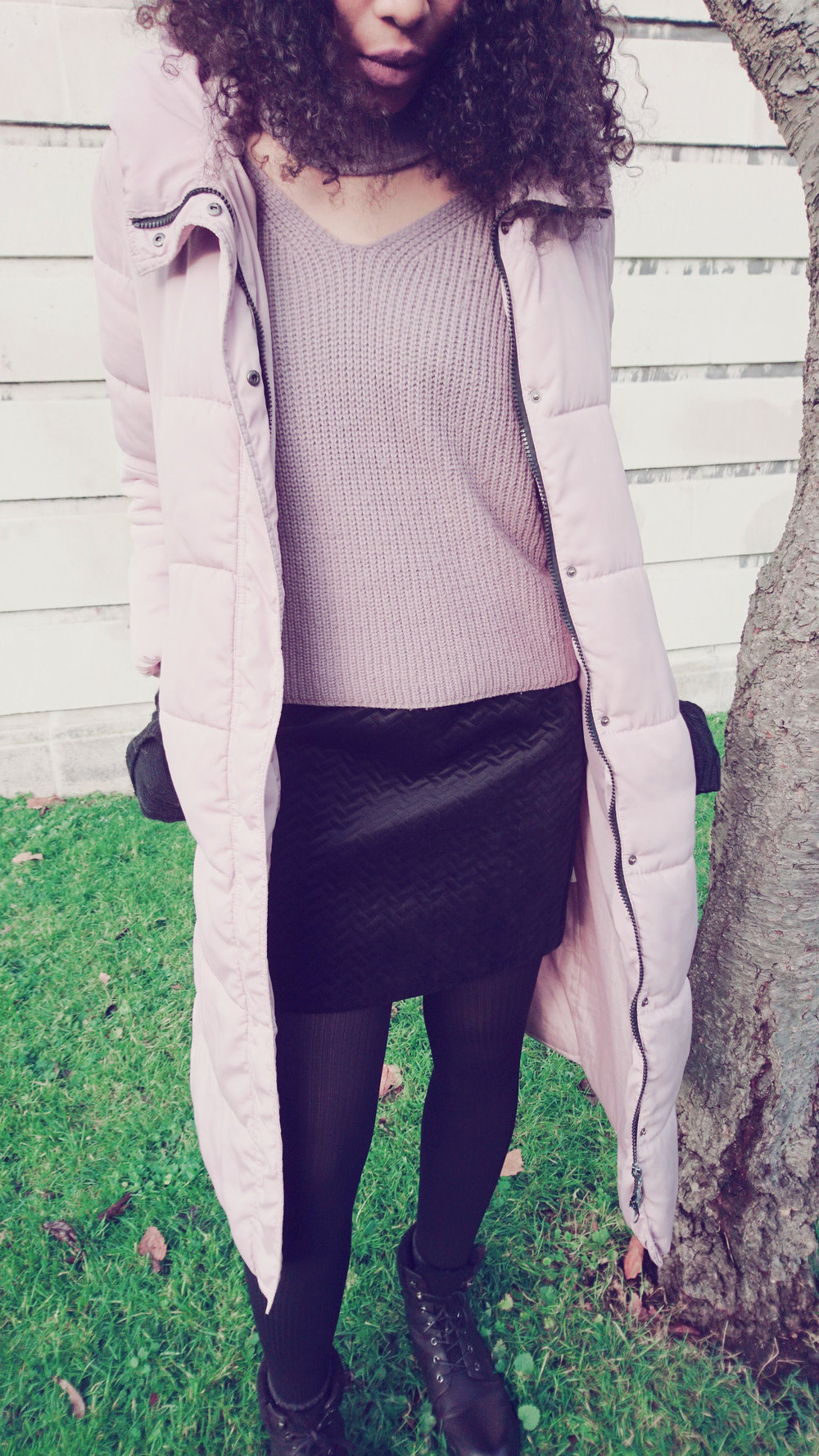 Mauve jumper, pink puffer coat black mini skirt for Winter