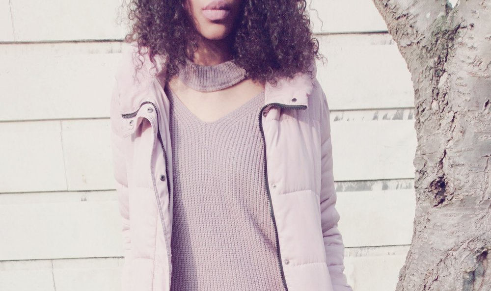 Mauve jumper pink puffer coat for Winter