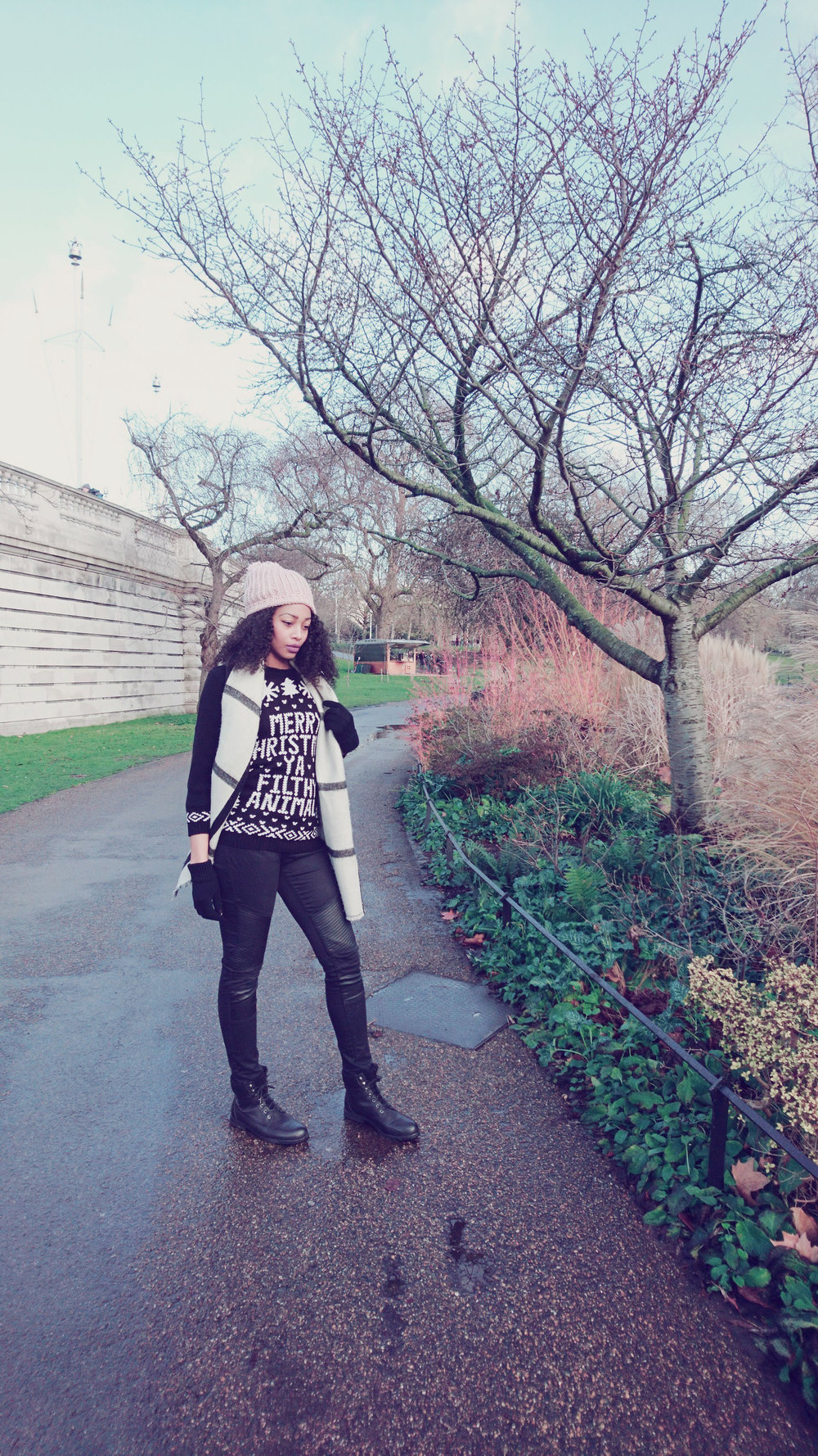 Black and White Scarf, Black Jeans and Filthy Animal Christmas Jumper