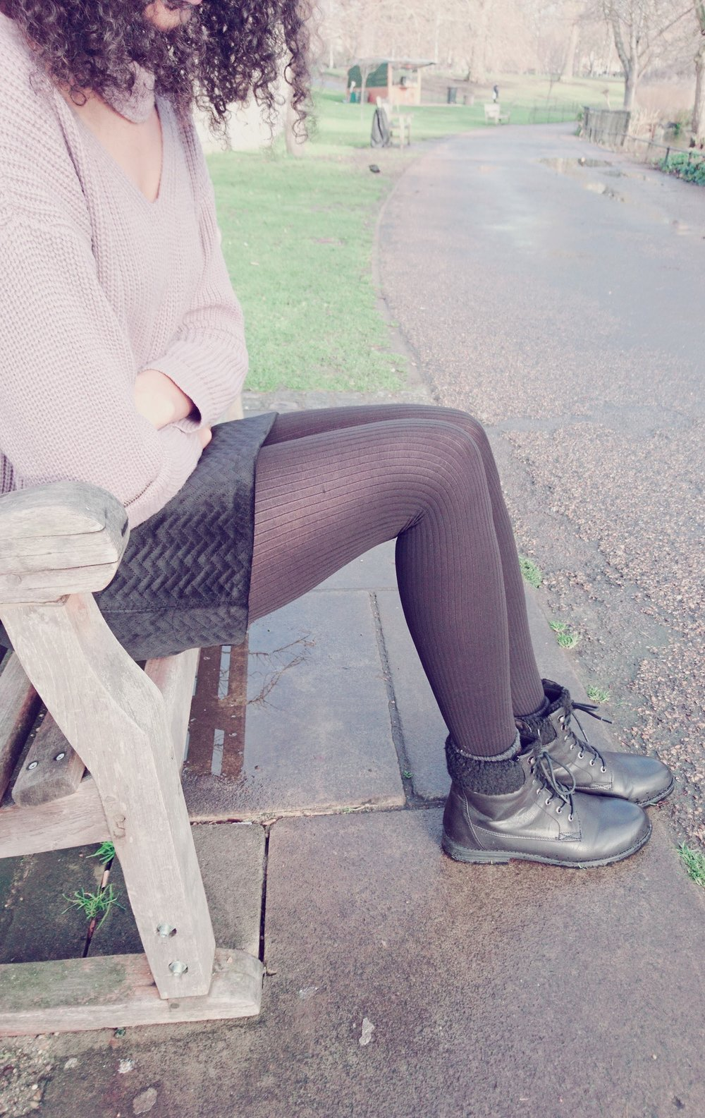 Black mini, black tights and black ankle boots for Winter