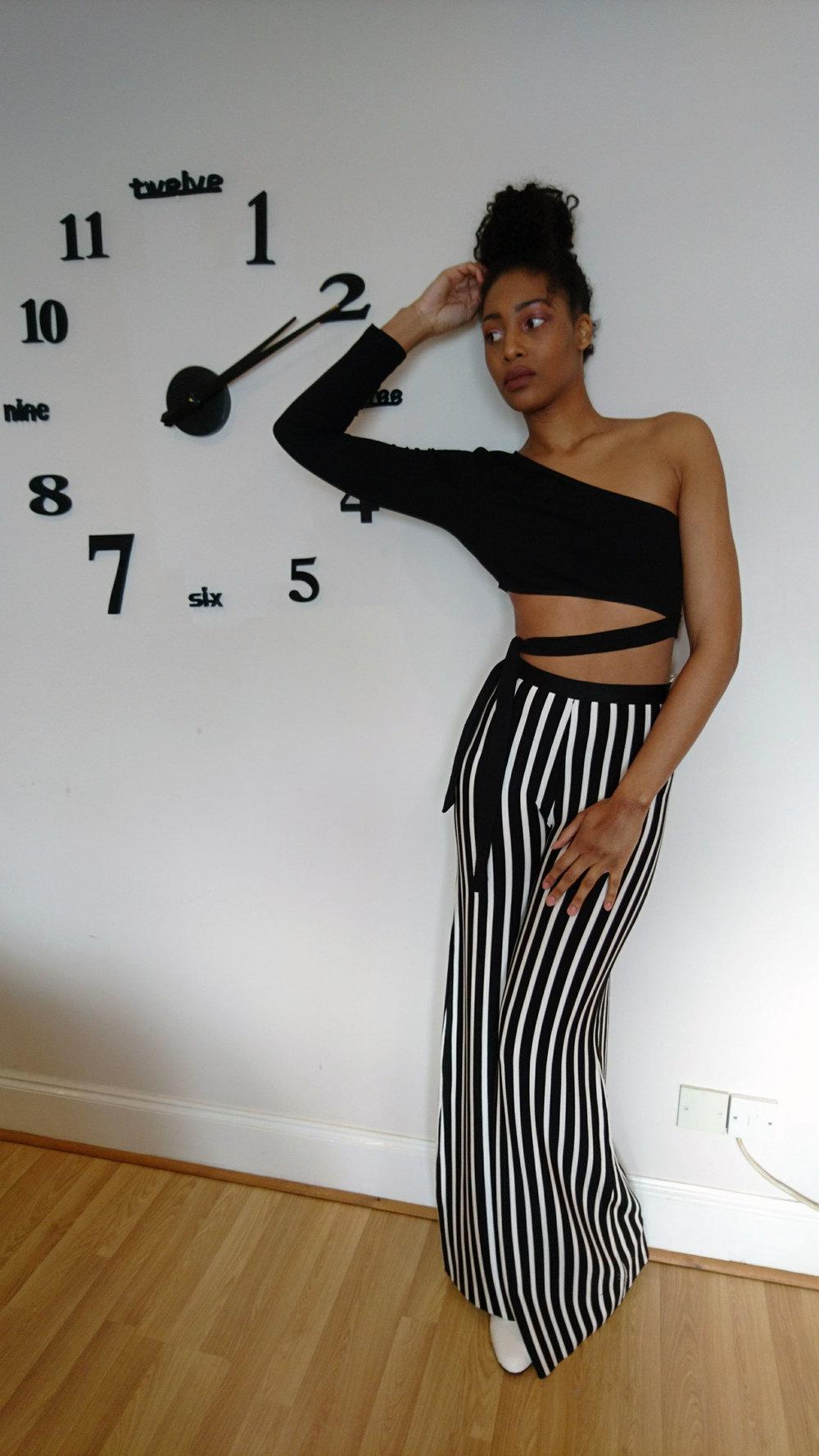Bralet, Bardot Crop Top & Asymmetrical Crop Top - Fashion Prescription  Aviator Jacket & White Ankle Boots - New Look  Stripe Trousers - Mistress Rocks