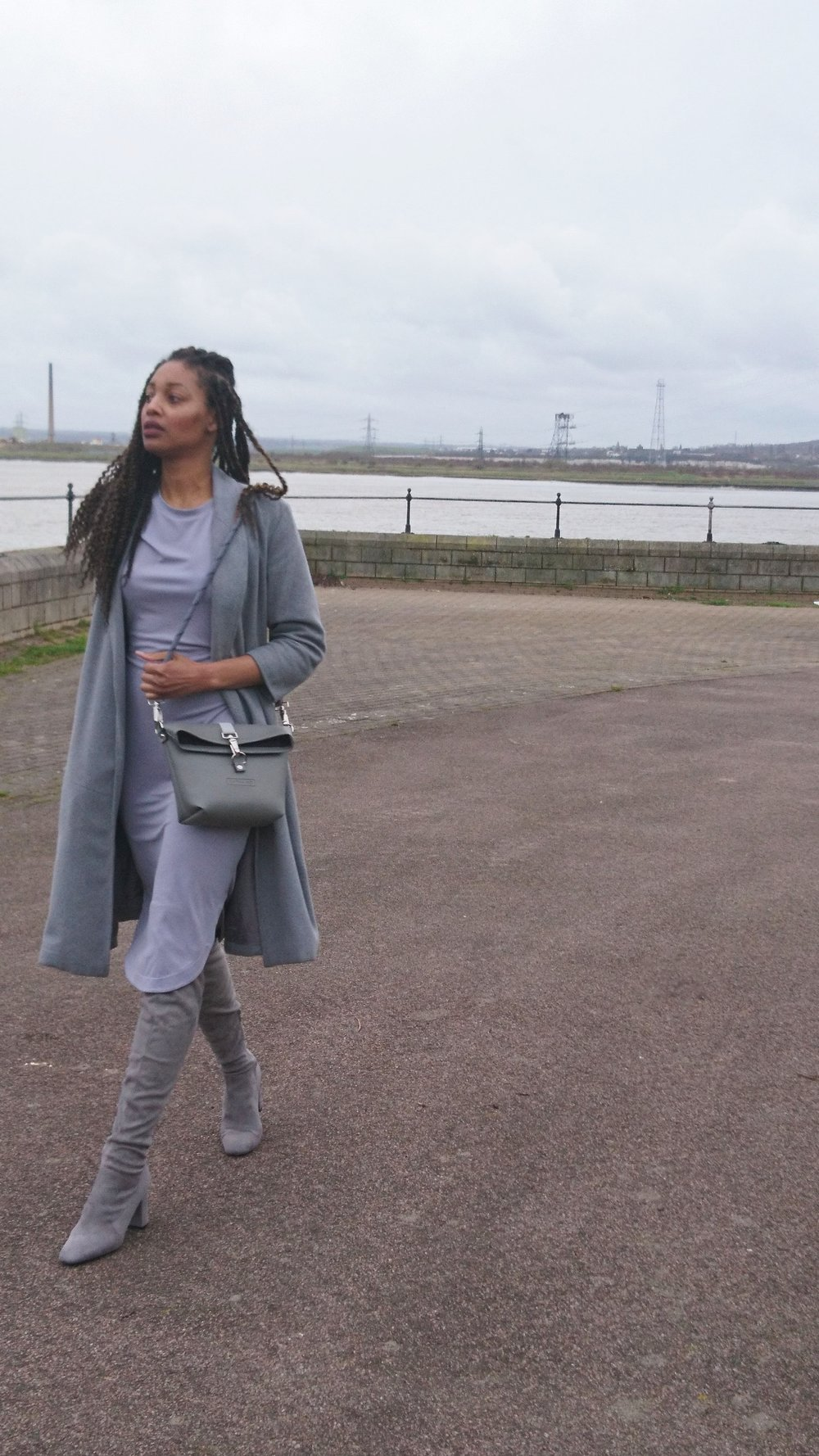 Grey Bag, Boots, Coat and Dress