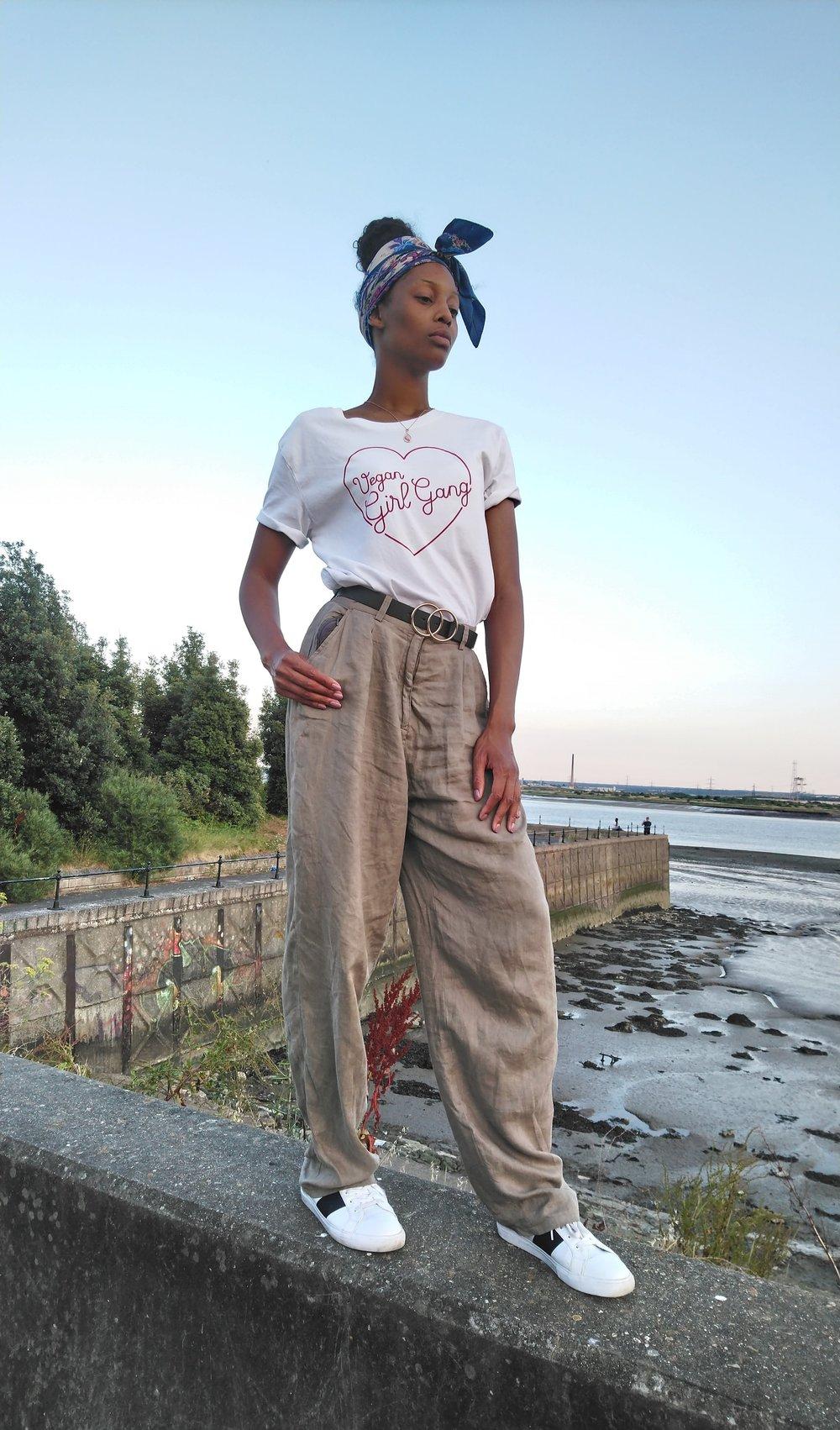 Kasia Vegan Girl Gang T-Shirt and Linen Trousers