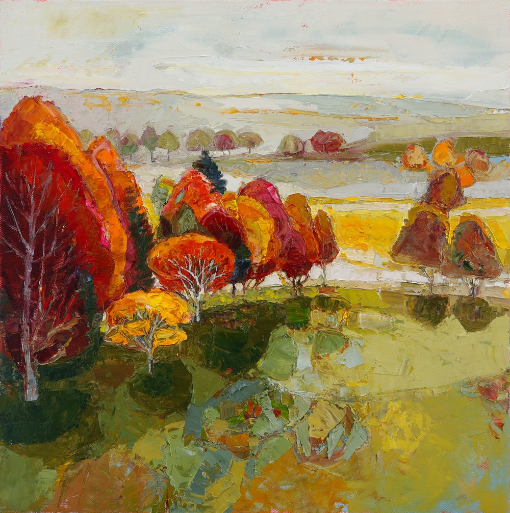 Title: Autumn Fire Size: 20 x 20 inches Medium: Oil on Canvas Price: SOLD