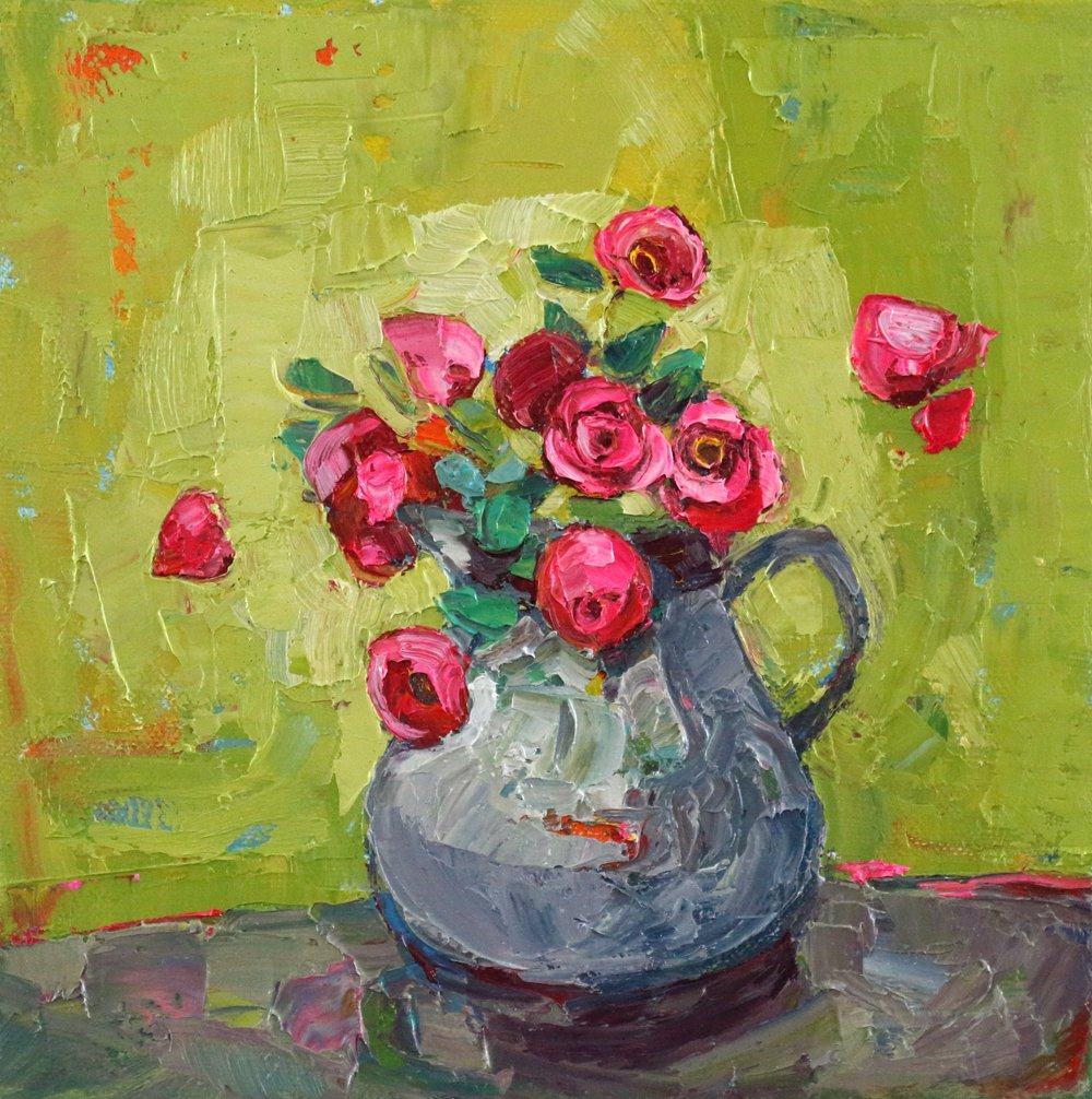 Title: Lime and Rose Size: 8 x 8 inches Medium: Oil on Canvas Price: £900