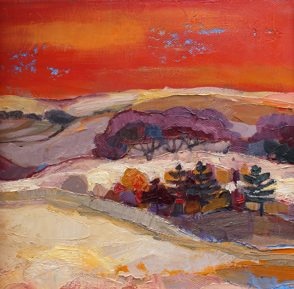 Title: Red Sky at Night Size: 8 x 8 inches Medium: Oil on Canvas Price: £900