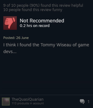 """I think I found the Tommy Wiseau of game devs..."""