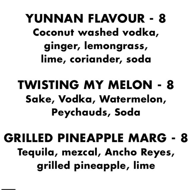 Tonight's cocktail menu at The New Leaf Bar