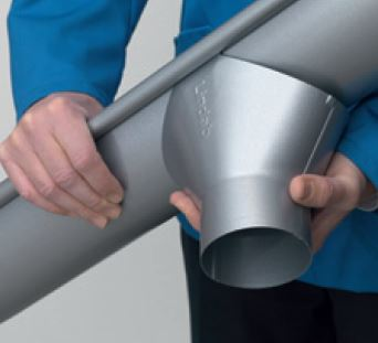 Gutter outlet with snap-on mounting