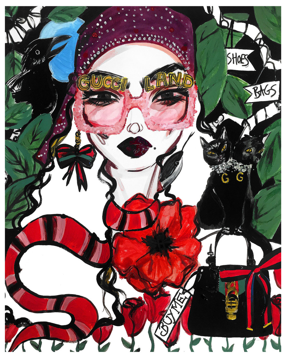 Alice in Gucciland - Acrylic painting on paper51.7x42cm£450