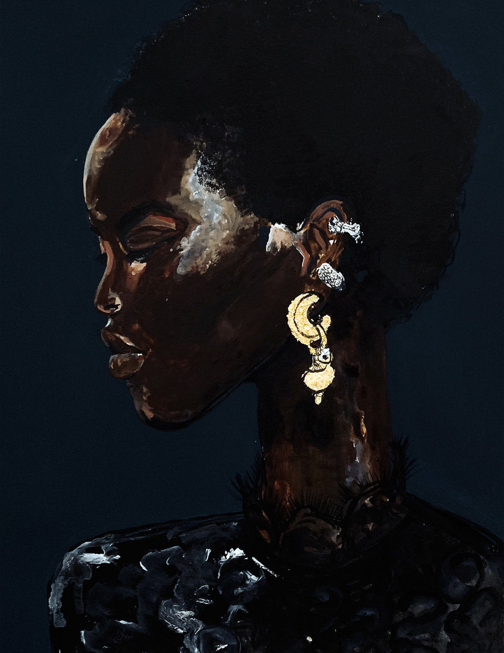 Etro Earrings - Mixed media painting on paper with gold and silver foil29.3x36.8cm£400