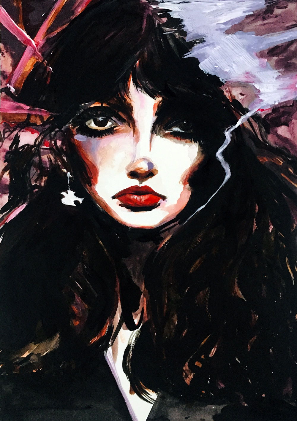 Cloudbusting - Acrylic painting on paperA3 (29.7x42cm)£400