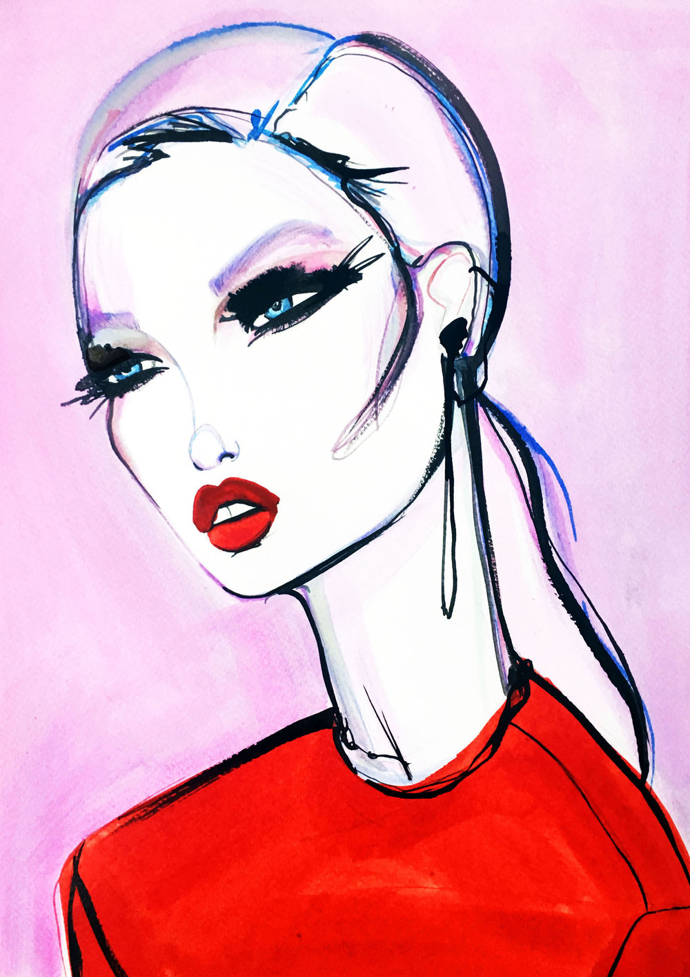 Flamingo - Mixed media painting on paperA3 (29.7x42cm)£400