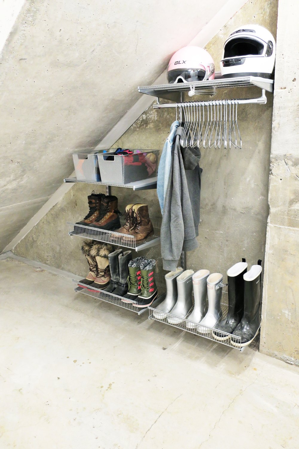 Shelfi_Organized entryway_Organizd Basement_Elfa_oganized shoes