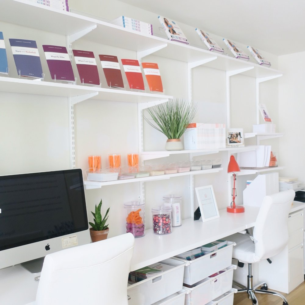 MAXIMIZE YOUR WALL SPACE - I installed an ELFA desktop and shelving to create one continuous co-working desk area where two (or more) people can sit and work at the same time. With an open shelving solution that is hung on the wall and spans the width of the room, we freed up tons of floor space. Drawers and file cabinets were used for backup office supplies, files and bulk paper.