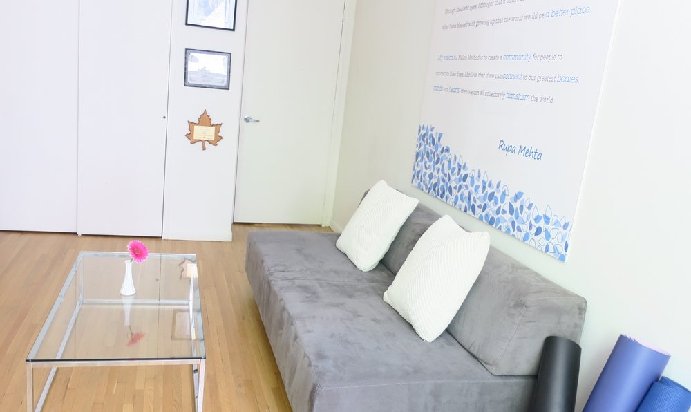 CREATE EXTRA SEATING - The futon fit perfectly into the space carving out a meeting spot for NaliniKIDS employees. It also adds a cozy feeling to a very modern space.