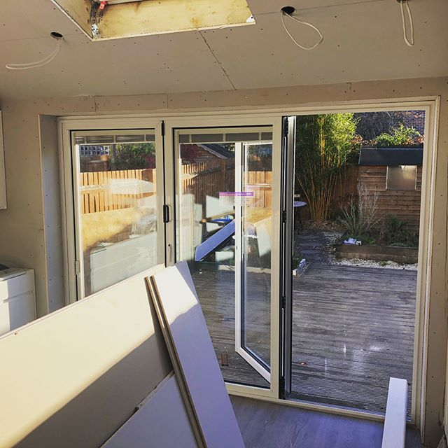 The single storey extension is nearing completion. Bifold's now in place and Velux allowing the light in perfectly. #singlestoreyextension #qualityworkmanship #bifolddoors #velux #skylight #construction #guildford #development #improvingspace #happycustomer😊 #happyclients #builder #builders #carpentry #carpentrylife