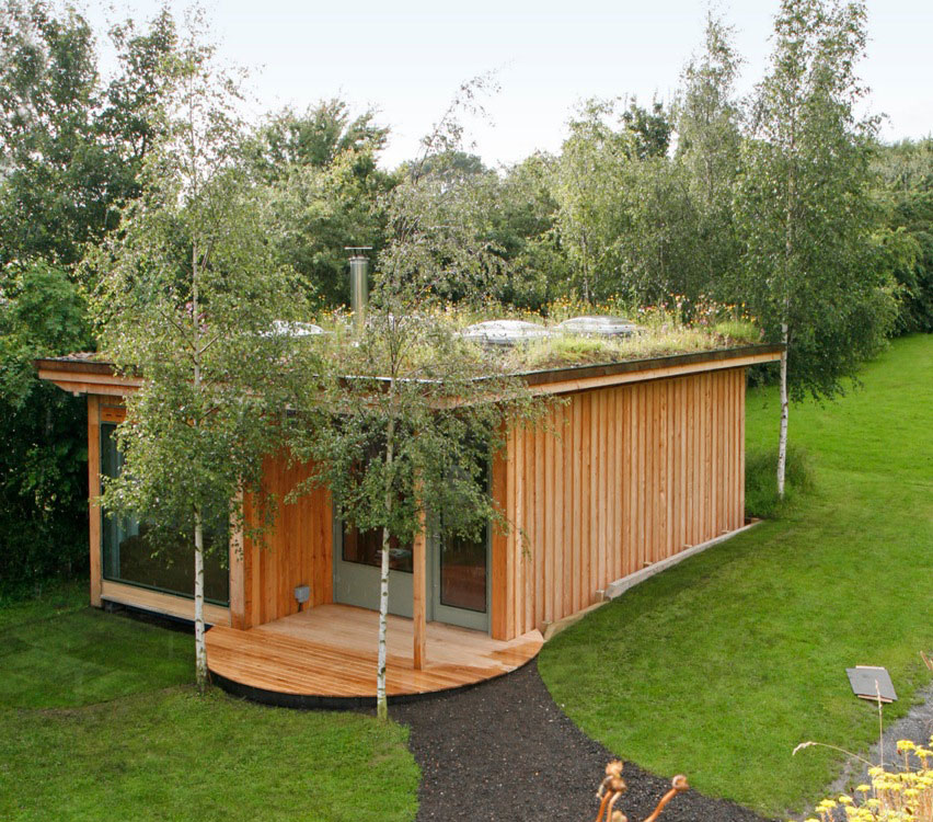 Shipping container buildings grass roof company for Best garden rooms uk